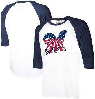 Stitches Men's White/Navy Milwaukee Brewers Stars & Stripes Americana Raglan 3/4-Sleeve T-Shirt