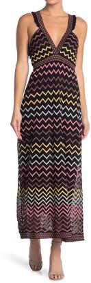 M Missoni Chevron Striped V-Neck Maxi Dress