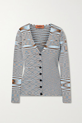Missoni Striped Crochet-knit Cotton Cardigan - Light blue