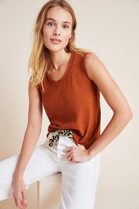 Anthropologie Frayed Scoop Neck Muscle Tee By in Brown Size L