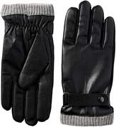 Isotoner Men's Faux Leather smarTouch Gloves with Knit Cuffe
