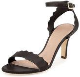 Chloé Scalloped Leather Sandal, Black