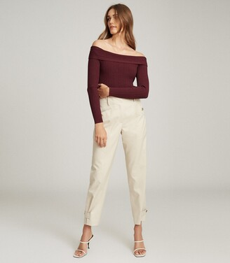 Reiss Tate - Knitted Bardot Top in Berry
