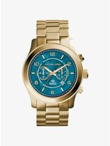 Michael Kors Watch Hunger Stop Oversized Runway Gold-Tone Stainless Steel Watch