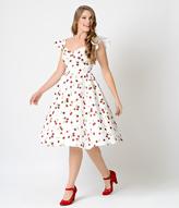 Stop Staring 1950s Style White Cherry Flutter Sleeve Ella Swing Dress