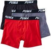 Puma Men's Volume Boxer Brief (3-Pack), Red/Black
