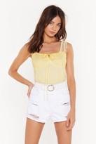 Nasty Gal Womens Spot Mesh Ruffle Sleeve Body - Yellow - 4, Yellow