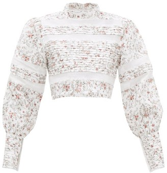 Sir - Haisley Floral-print Lace-trim Linen Top - Ivory Multi