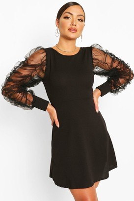 boohoo Mesh Rouched Sleeve Skater Dress