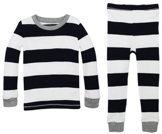 Burt's Bees Baby Organic Baby Boys & Toddler Boy Rugby Stripe Snug Fit Cotton Long Sleeve Pajamas, 2-Piece Set (12M-5T)
