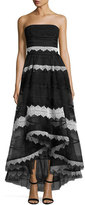 Sachin + Babi Strapless Lace-Trim High-Low Tulle Gown, Black/White