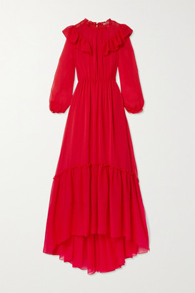 Maje Ruffled Tiered Crepon Maxi Dress - FR34