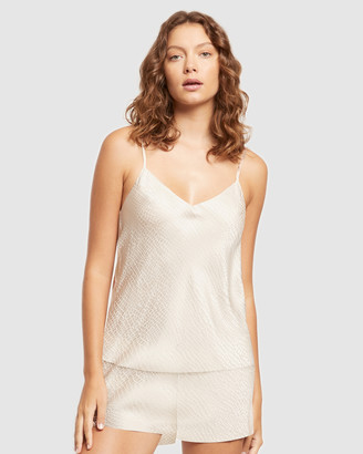 Ginia Women's White Pyjama Tops - Silk Jacquard Cami - Size One Size, 12 at The Iconic