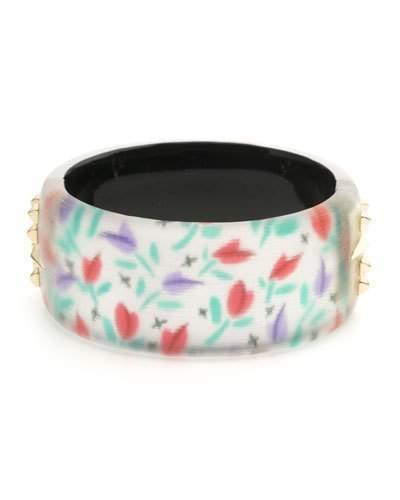 Alexis Bittar Tulip-Print Large Studded Hinge Bracelet