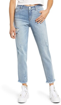 1822 Denim Re:Denim Girlfriend Fray Hem Ankle Straight Leg Jeans