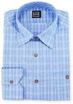 Ike Behar Mini-Plaid Dress Shirt, Blue