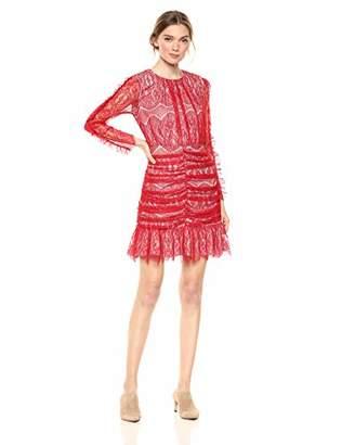 Elliatt Women's Apparel Women's Rose Long Sleeve Lace Shir Short Mini Dress