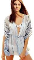 Tenworld Tnewold Bikini Swimwear Cover Ups Dress Beach Kaftan Stripped V Neck Cardigan (S = US 4)