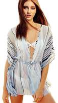 Tenworld Tnewold Bikini Swimwear Cover Ups Dress Beach Kaftan Stripped V Neck Cardigan (XL = US 10)