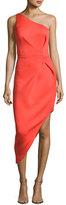 Jovani One-Shoulder Asymmetric Crepe Sheath Dress, Orange