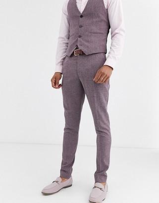 Asos DESIGN wedding super skinny suit pants in crosshatch in wine twist