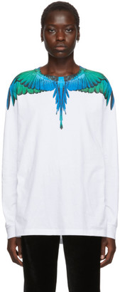 Marcelo Burlon County of Milan White and Blue Wings Long Sleeve T-Shirt