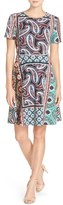 ECI Women's Print Stretch Fit & Flare Dress
