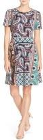 ECI Women's Print Stretch Fit & Flare Dress