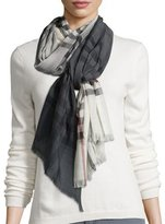 Burberry Ombre Wool-Blend Macro Check Scarf, Ivory