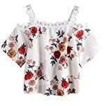 Kingfansion Women Short Sleeve Off Shoulder Lace Floral Blouse Casual Tops T-Shirt (S, White)