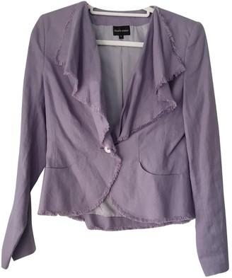 N. \n Purple Linen Jacket for Women
