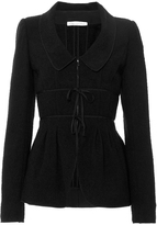 Oscar de la Renta Black Wool Blend Jacket with Chelsea Collar