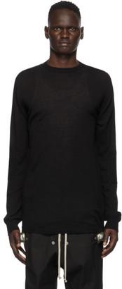 Rick Owens Black Wool Oversized Round Neck Sweater