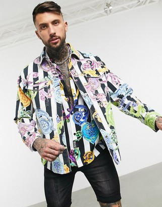 Versace Jeans Couture stripe and baroque denim jacket in black and white