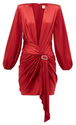 Alexandre Vauthier V-neck Silk-blend Satin Dress - Red