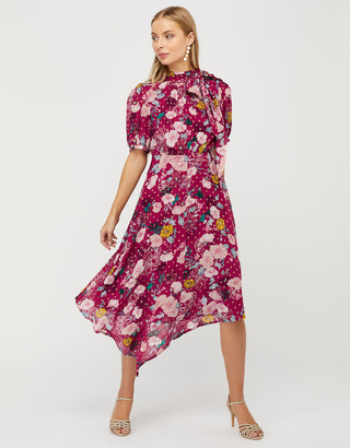 Under Armour Frances Floral Tea Dress with Gold Spots Red