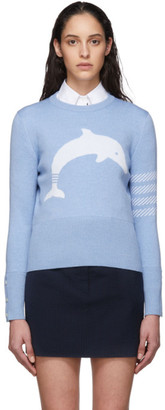 Thom Browne Blue Dolphin Icon 4-Bar Crewneck Sweater