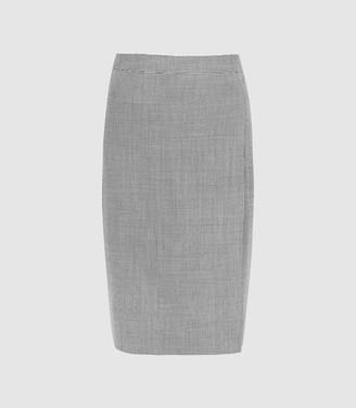 Reiss Romy Skirt - Wool Blend Wrap Front Pencil Skirt in Grey