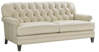 """Lexington Oyster Bay Genuine Leather 74"""" Rolled Arm Sofa Leg Color: Brown"""