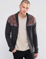 Asos Lambswool Rich Shawl Neck Cardigan with Yoke Fairisle