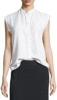 Helmut Lang Sleeveless Back-Knot Poplin Shirt, White