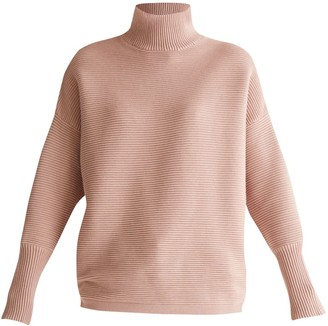 Paisie Ribbed Turtleneck Jumper In Blush
