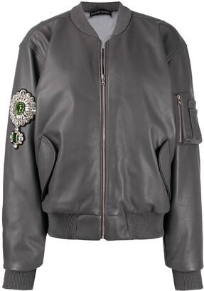 David Koma Embellished Leather Bomber Jacket