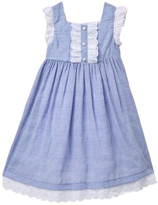 Laura Ashley Eyelet Ruffle Stripe Linen Dress (Toddler Girls)