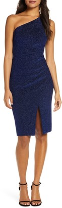 Vince Camuto One-Shoulder Glitter Knit Body-Con Dress
