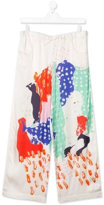 Marni TEEN painted print trousers