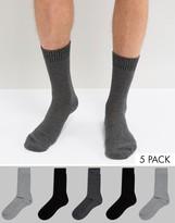 Asos Waffle Socks 5 Pack In Monochrome