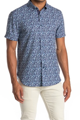 Construct Floral Print Short Sleeve Slim Fit 4-Way Stretch Shirt