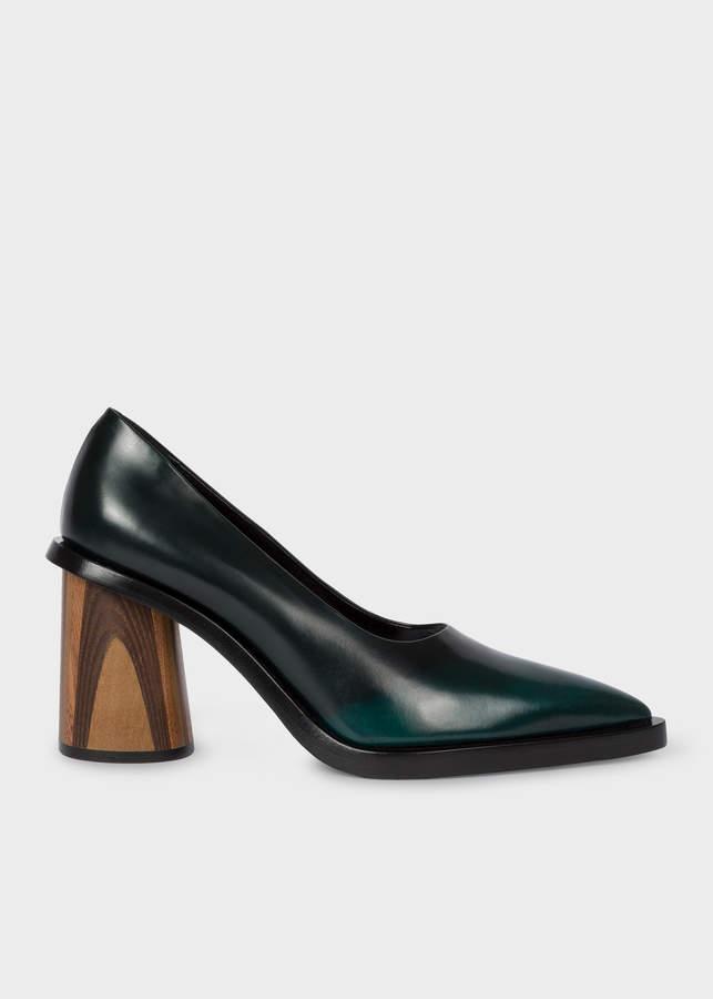 Paul Smith Women's Dark Green Leather 'Mali' Heels