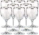 Mikasa Stephanie Platinum Set of 8 Crystal Wine Glasses